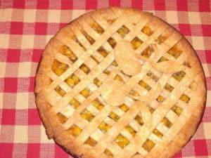 Ground cherry pie with lattice crust