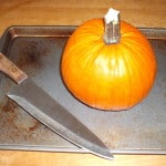 Pumpkin with chef's knife