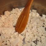 tofu crumbled in pot