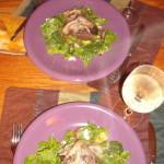 mushroom dinner with spinach salad