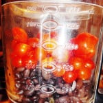 black beans and tomatoes in blender