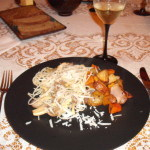 mushrooms with pasta and root vegetables