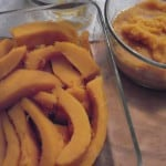 baked pumpkin in slices and pureed