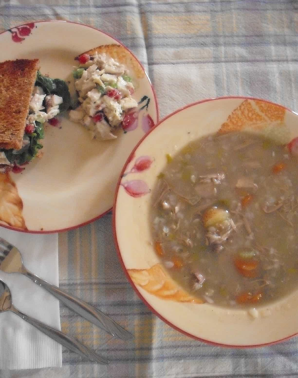turkey soup and salad