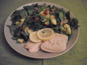 salad with poached salmon