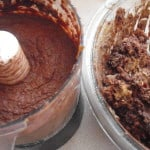 brownie ingredients at two stages of mixing