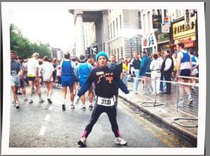 Toni's husband before the start of the 1994 Dublin Marathon