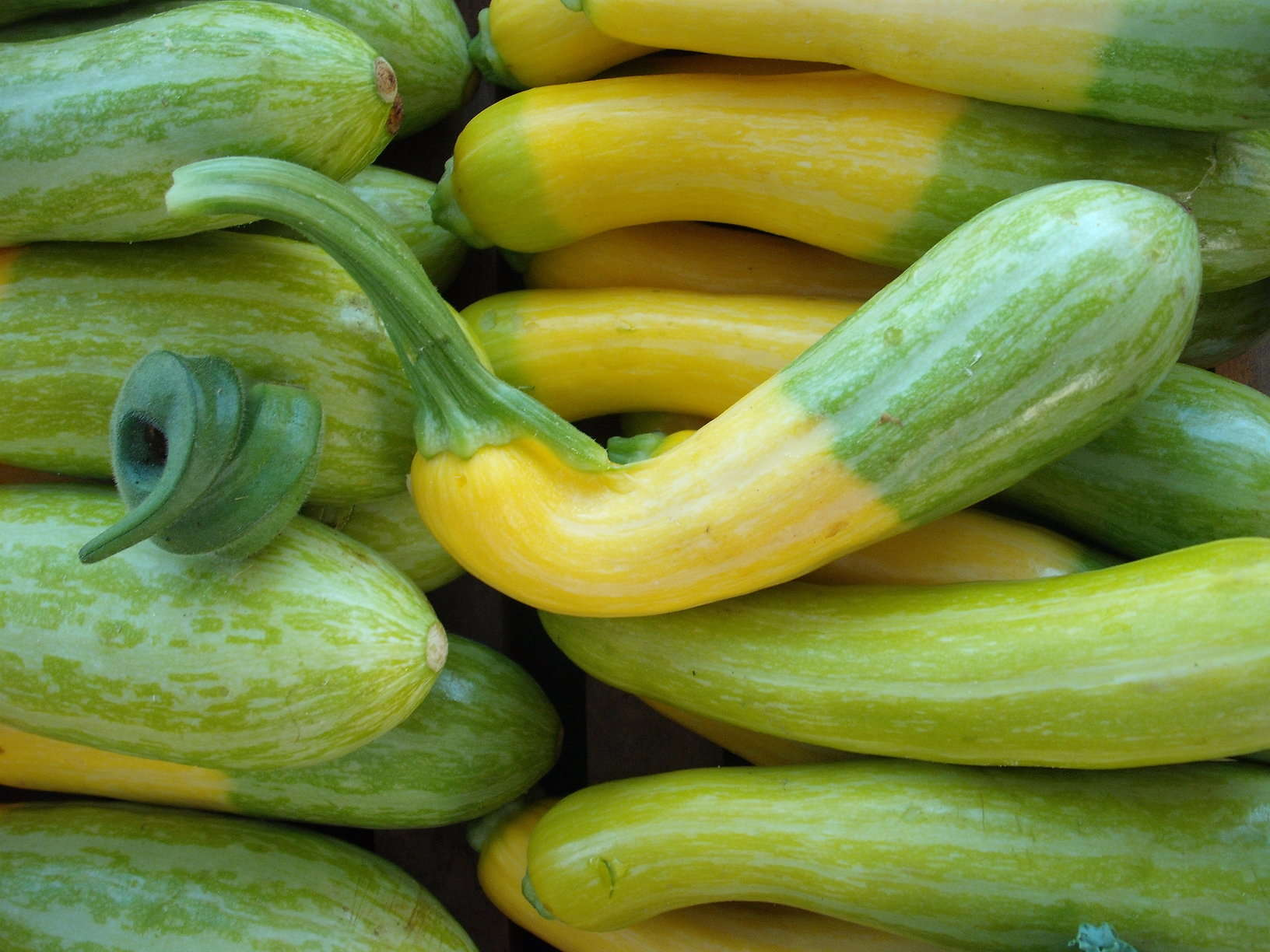 misshapen okra and summer squash at the farmer's market