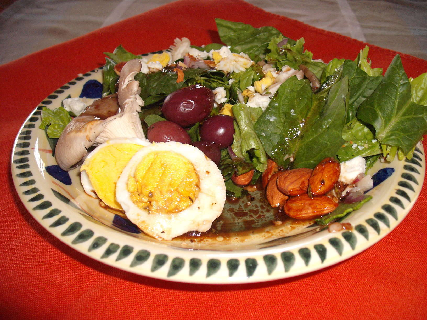 Spinach, Mushroom and Egg Salad with Toasted Almonds, Goat Cheese and Balsamic Vinaigrette