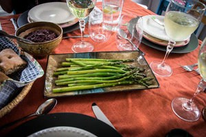 Asparagus grilled in olive oil and lavender balsamic vinegar and glazed with apricot jam. Photo by Darlene McGee.