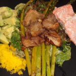cured grated egg with avocado, asparagus, mushrooms and salmon