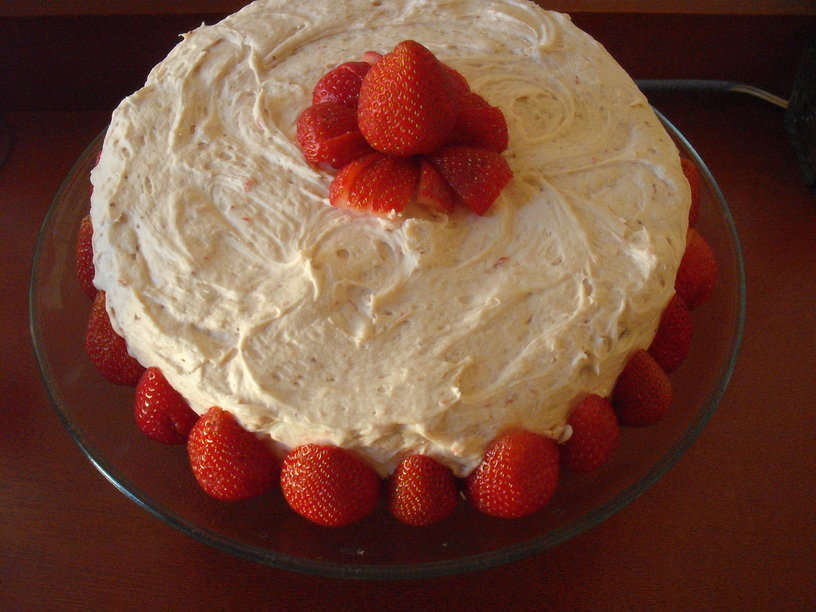 Cornmeal Buttermilk Layer Cake with Fresh Strawberry Frosting