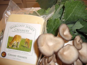 Marcoot Jersey Creamery cheese, mushrooms and kale