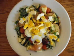 Salad dressed with a Mediterranean Capsule Dressing