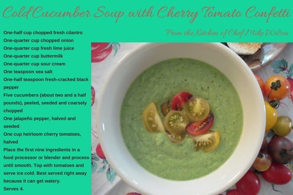cold cucumber soup recipe by Chef Mike Wilson