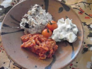 Baba Ganoush, Raita, and Eggplant and Roasted Red Pepper Relish