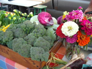 cabbage and broccoli and flowers