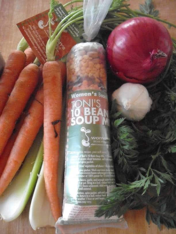 Toni's 10-Bean Soup Mix with a variety of fresh vegetables