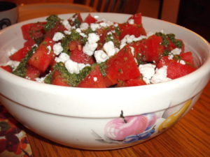 Watermelon and feta salad in bowl