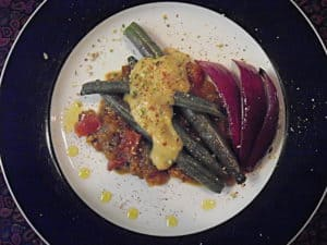roasted green beans and red onions with the two sauces