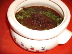 black beans in crock