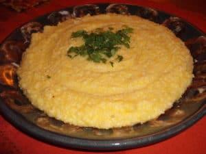 polenta in serving plate
