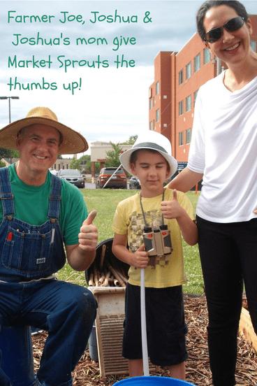 Farmer Joe Carrington with Joshua and Joshua's mom