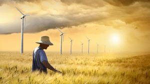 farmer in fields with wind turbines