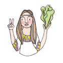 Delicious Living graphic of hippie with lettuce