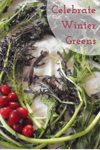 winter salad greens and fresh cranberries