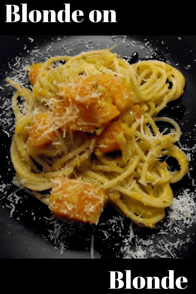 squash and pasta on black plate