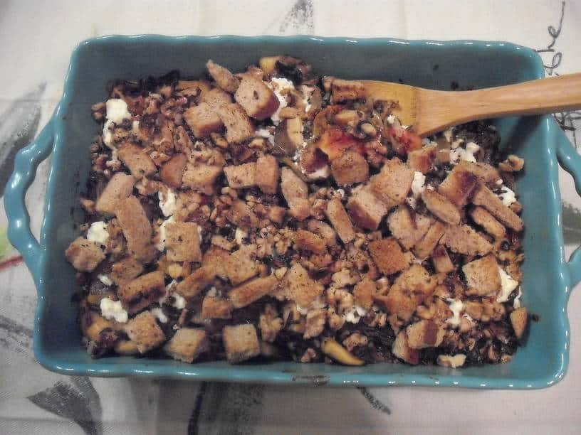 wild rice and mushroom casserole in serving dish