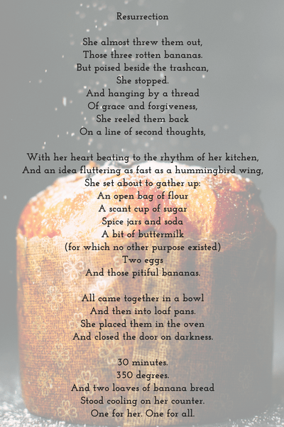 "my poem ""resurrection"" with background of loaf of bread"