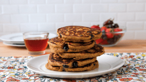 recipe from Delicious Living Magazine for Sweet Potato Blueberry Pancakes
