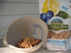 Cascadian Farm Lemon Blueberry Granola in bag and bowl