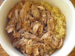 bowl of chicken mole with coconut rice
