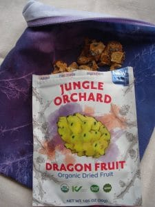bag of Jungle Orchard Dried Dragon Fruit with reusable lunch sack