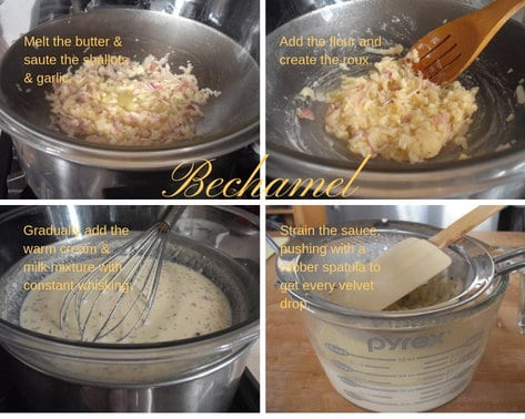 The four basic steps to making classic Bechamel Sauce