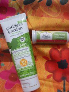 Goddess Garden Sunscreen and Earth Mama Baby Face Sunscreen