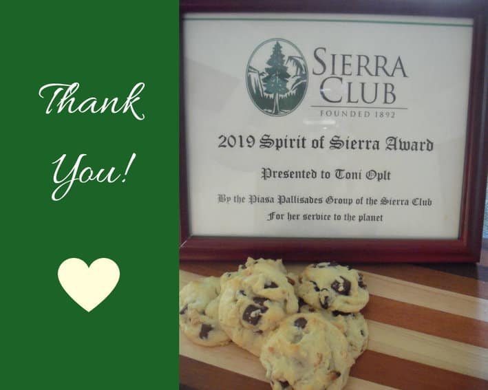 Mega Cookies with Sierra Club award and cutting board