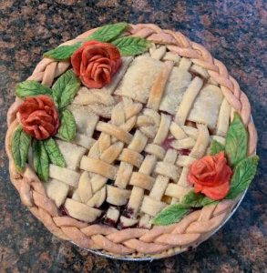 Lattice Crust Pie with Colored Roses