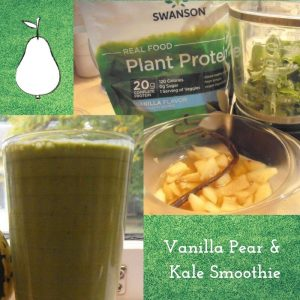 Photo Collage with Swanson Plant Protein Powder and Vanilla Pear & Kale Smoothie