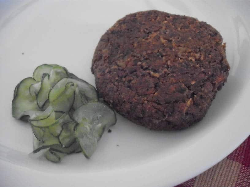 Possible Burger on plate with Freezer Pickles