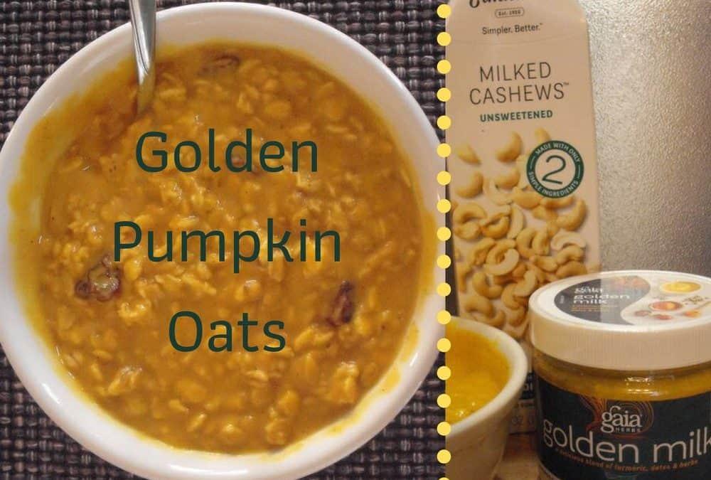bowl of Golden Pumpkin Oats with Elmhurst Cashew Milk carton and Gaia Golden Milk container