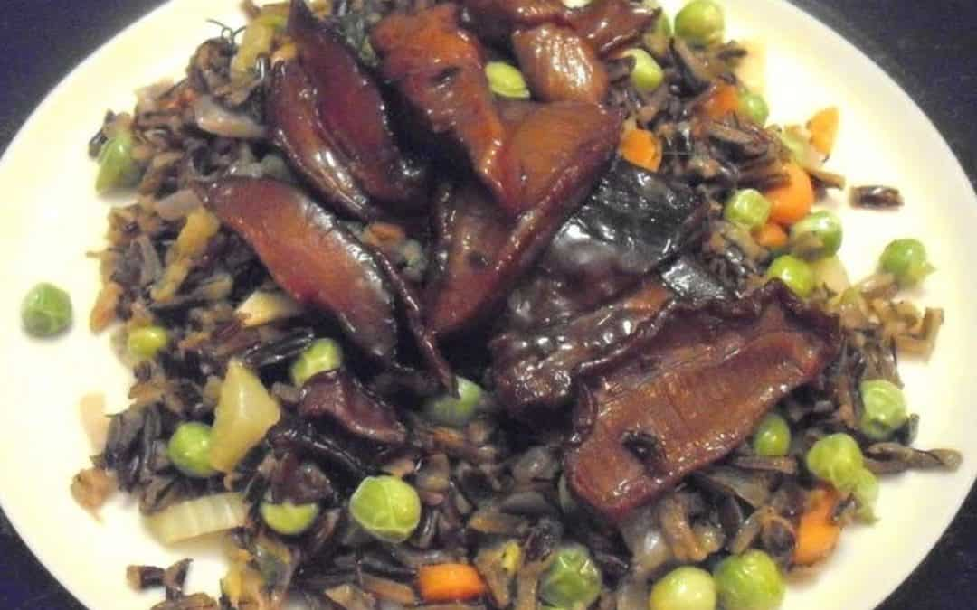 Drunken Mushrooms and Wild Rice Pilaf
