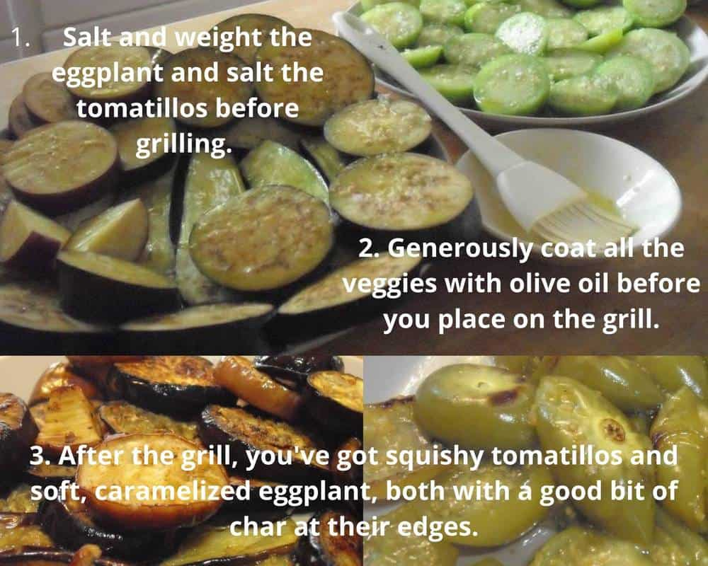 three photo guide to prepping and grilling the eggplant and tomatillos