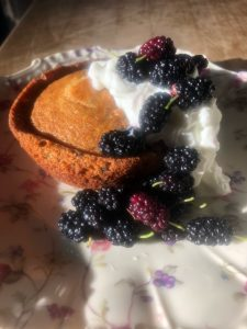 Lemon Muffin made in Pyrex Bowl with Dollop of Yogurt and Fresh Mulberries