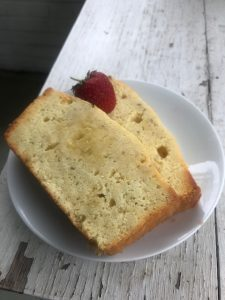 two slices of Lemon Pound Cake with Lavender and Rosemary