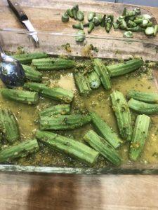 Okra prepared in marinade