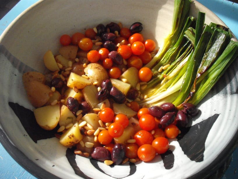 potato salad with grilled leeks and heirloom tomatoes